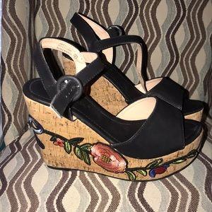 chase & chloe jamie cork wedge sandal